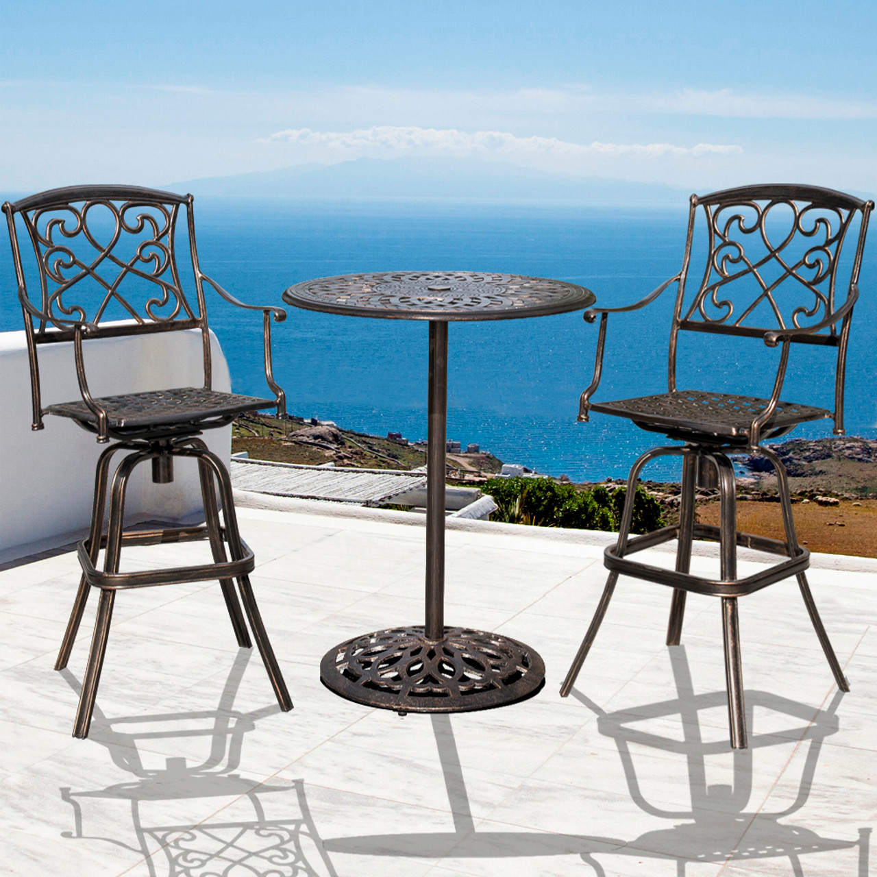 3 Pcs Cushioned Patio Wicker Conversation Set 2 Chairs Bistro And