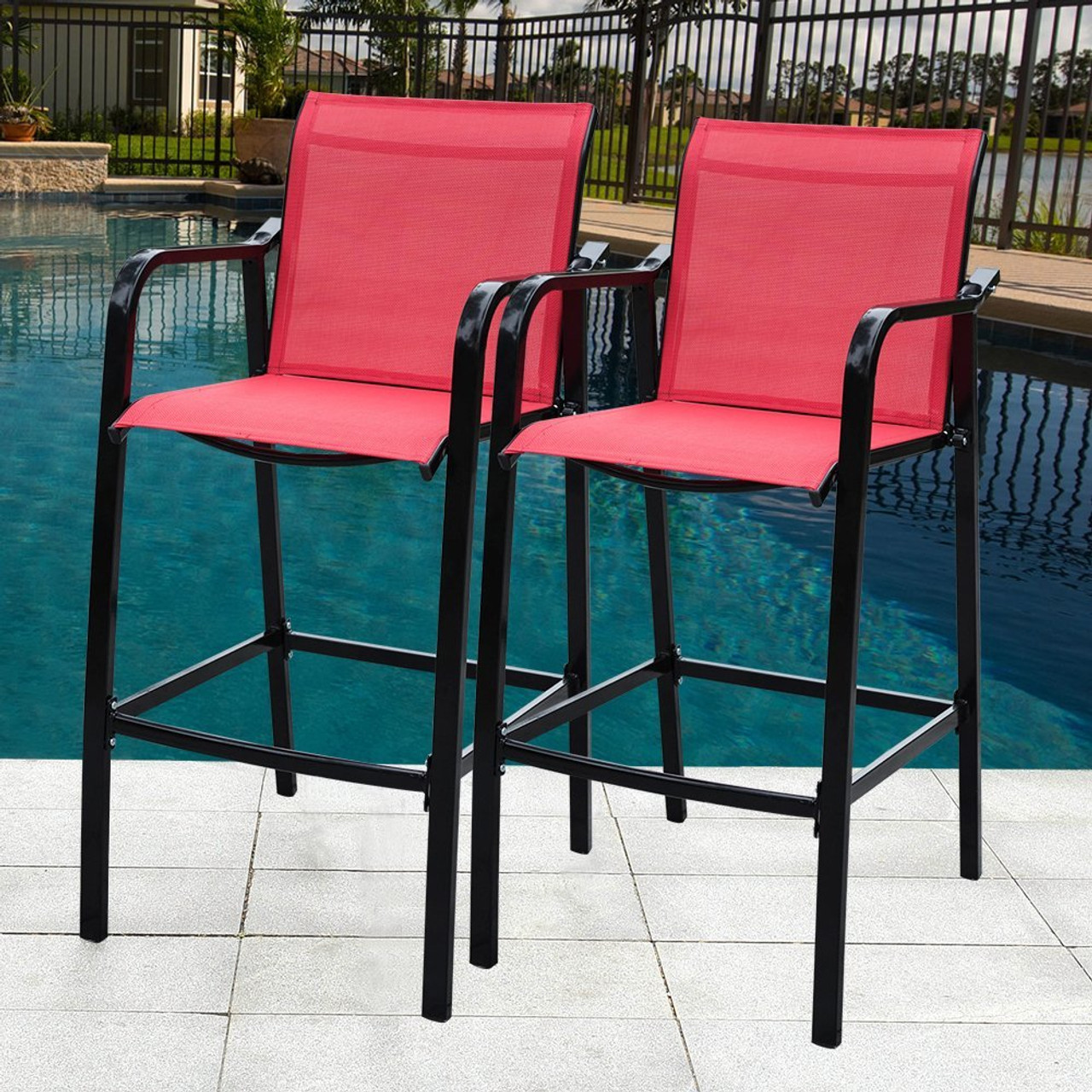 Strange Sundale Outdoor Counter Height Bar Stool All Weather Patio Furniture With Quick Dry Textilene Fabric 2 Pcs Set Red Home Interior And Landscaping Ologienasavecom