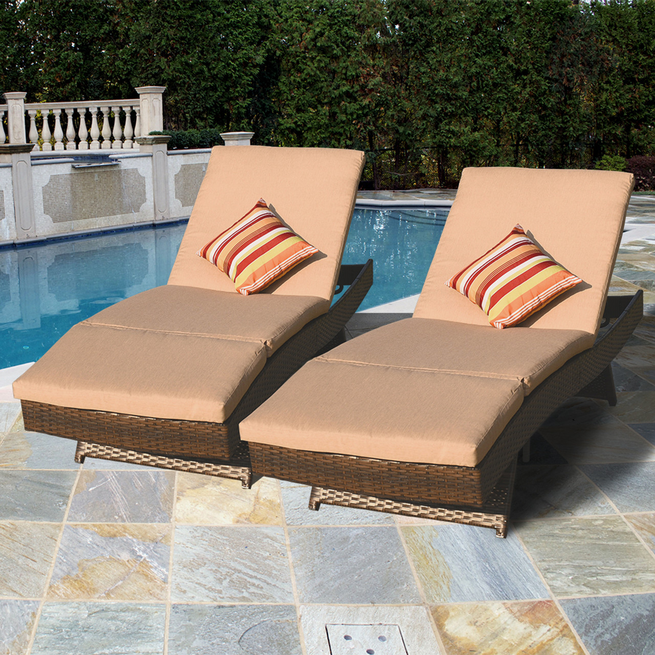 Luxury Reclining Brown Wicker Chaise Lounge Chair Outdoor Patio Yard