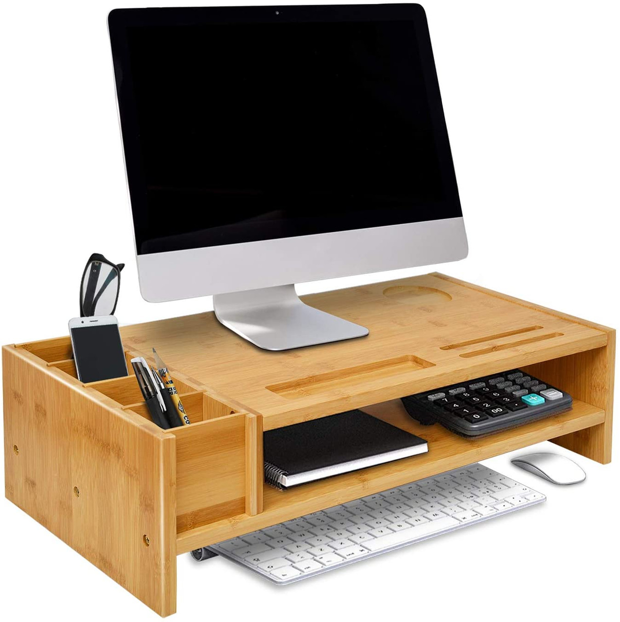 WAYTRIM 42-Tier Bamboo Monitor Stand, Wood Computer Monitor Riser, Wooden  Desk Organizers with Adjustable Storage Accessories Shelf for iMac, Laptop,
