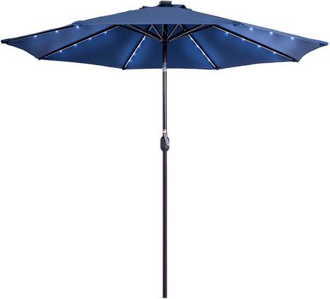 Solar Powered 32 LED Lighted Patio Umbrella