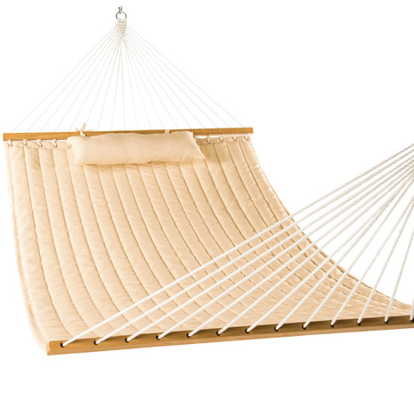 """Lazy Daze Hammocks 55"""" Double Quilted Fabric Hammock Swing with Pillow, Beige"""