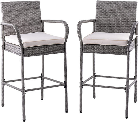 2 Piece Wicker Bar Stools Rattan Chairs, Patio Bar Chair with Arms,  All-Weather Wicker Patio Furniture