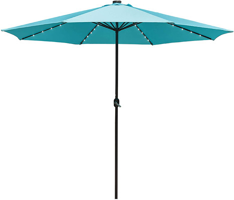 Sundale Outdoor 11FT 40 LED Lights Aluminum Patio Market Umbrella with Hand Push Tilt and Crank, Garden Pool Lighted Parasol, 8 Ribs, Blue