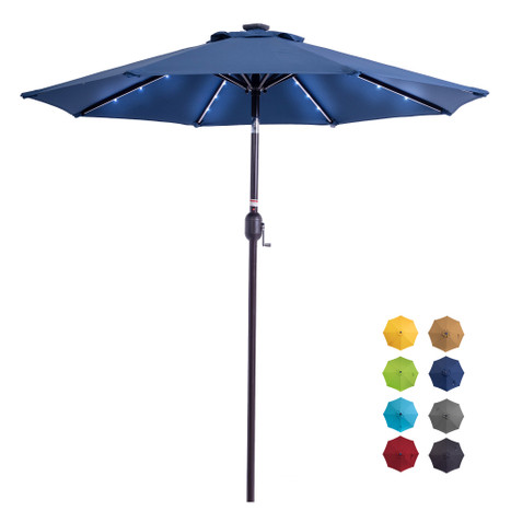 Sundale Outdoor 7 ft Solar Powered 24 LED Lighted Patio Umbrella Table Market Umbrella with Crank and Push Button Tilt Polyester Canopy (Navy Blue)