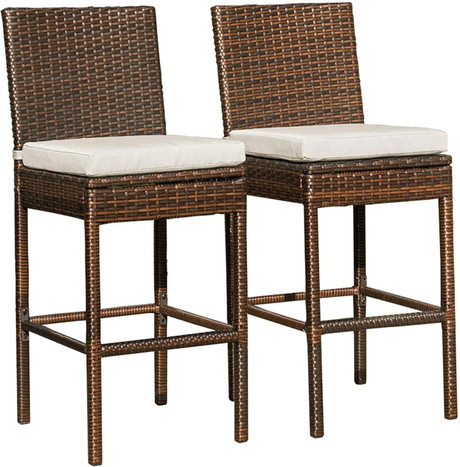 Wicker Barstool with Cushions
