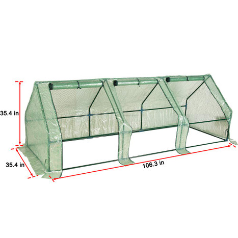Sundale Outdoor Portable Gardening Steeple Mini Green House with PE Cover and Zipper Doors, Waterproof Hot Green House, UV Protection, Insect Prevention, 106.3�L) x 35.4�W) x 35.4�H)