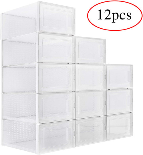WAYTRIM Foldable Shoe Box, Stackable Clear Shoe Storage Box - Storage Bins Shoe Container Organizer, 12 Pack - White
