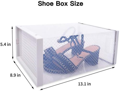 WAYTRIM Foldable Shoe Box, Stackable Clear Shoe Storage Box - Storage Bins Shoe Container Organizer, 6 Pack - White, Medium