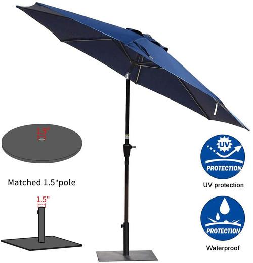 Sundale Outdoor 10FT Patio Umbrella Table Umbrella Market Umbrella with Aluminum Pole & Auto Tilt, Polyester Canopy,navy