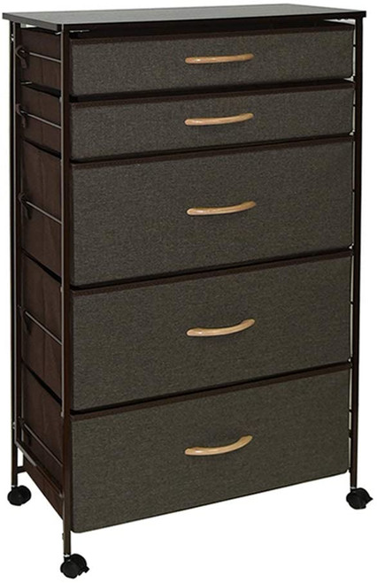 WAYTRIM Fabric 5 Drawers Storage Organizer Unit Easy Assembly, Vertical Dresser Storage Tower for Closet, Bedroom, Entryway
