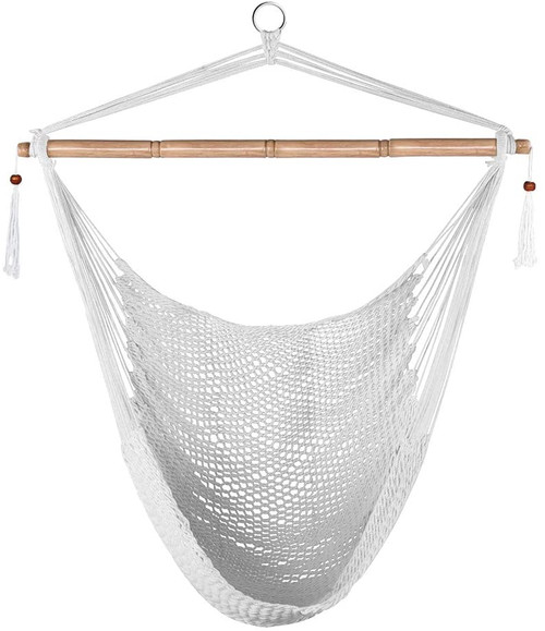 "Lazy Daze Hammocks Hanging Chair Caribbean Swing Chair Hammock Chair w/Soft-Spun Cotton Rope, 40"" Hardwood Spreader Bar Wide Seat, Max 300 Pounds, for Indoor Outdoor Garden Yard, White with Macrame"