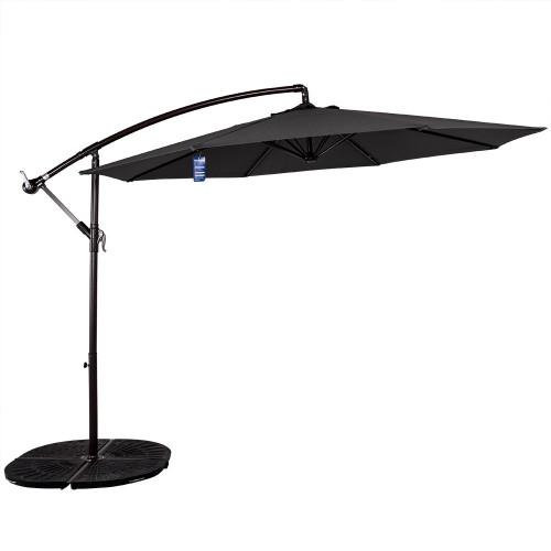 10 Feet Aluminum Offset Patio Umbrella(Grey)