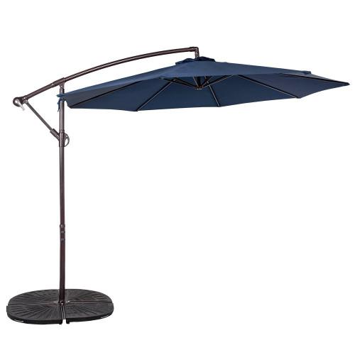 10 Feet Aluminum Offset Patio Umbrella Dark Green
