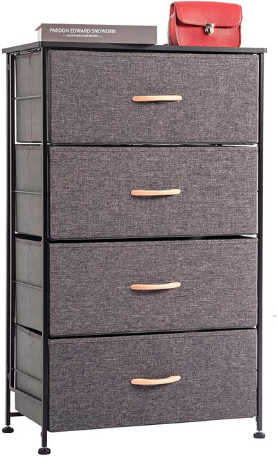 WAYTRIM Fabric 4 Drawers Storage Organizer Unit Easy Assembly, Vertical Dresser Storage Tower for Closet, Bedroom, Entryway, Charcoal