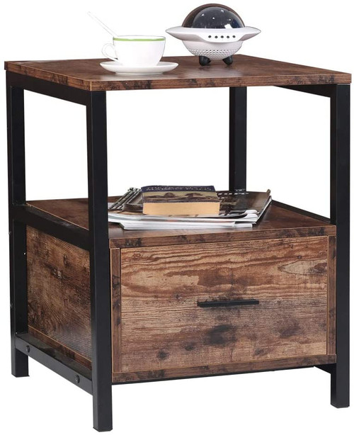 Sundale Outdoor Nightstands with Drawer, Wooden Side Table, End Table for Bedroom, Living Room, Study, Retro