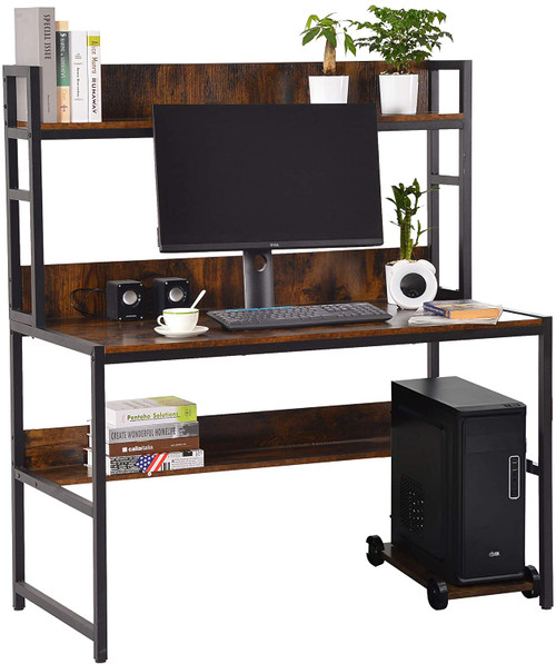 Sundale Computer Desk, Large Space Writing Table, Simple Style Storage for Home Office Desk, Retro Brown