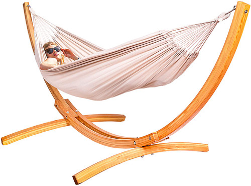 Lazy Daze Hammocks 10 Feet Russian Pine Hardwood Arc Frame Hammock Stand and Cotton Fabric Hammock Combo, Includes Hooks and Chains, White