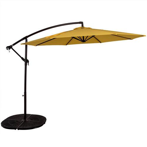 10 Feet Aluminum Offset Patio Umbrella(Yellow)