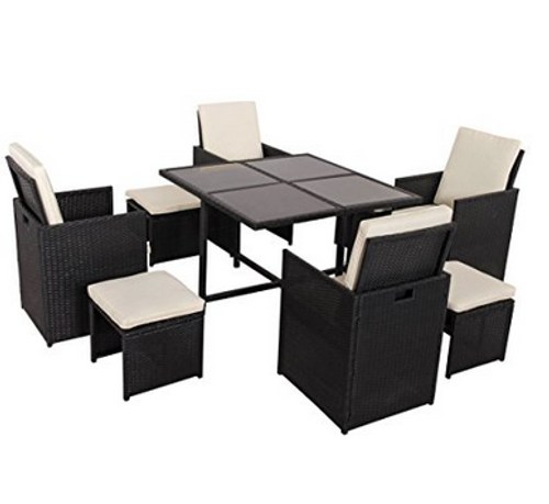 Marvelous Deluxe 9 Pieces All Weather Wicker Patio Garden Dining Furniture Cube Set With Dust Cover Alphanode Cool Chair Designs And Ideas Alphanodeonline