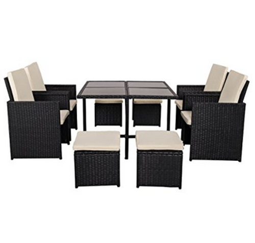 Astounding Deluxe 9 Pieces All Weather Wicker Patio Garden Dining Furniture Cube Set With Dust Cover Alphanode Cool Chair Designs And Ideas Alphanodeonline