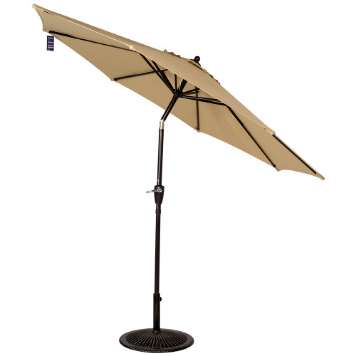 8.2 Ft Olefin Fabric Solution Dyed and UV Resistant Patio Garden Outdoor Market Umbrella with Auto Tilt and Crank, Earth Yellow