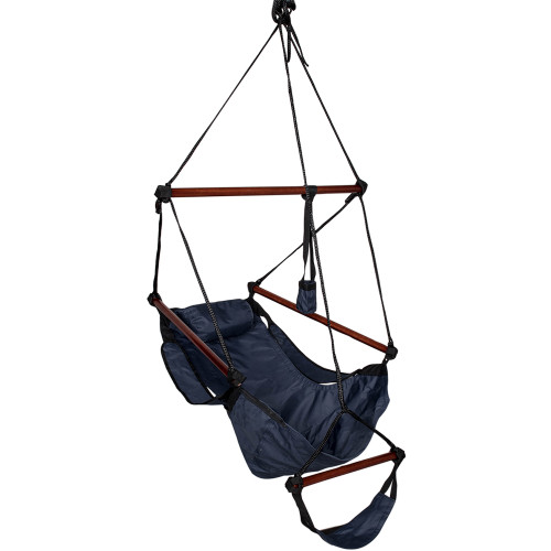Lazy Daze Hammocks Cushioned Hanging Chair with Cup Holder,Footrest &Hardware for Patio Garden Outdoor Indoor, Capacity 350 lbs (Navy Blue)