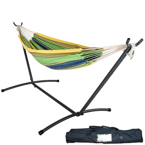 Double Hammock With Space Saving Steel Stand with Carrying