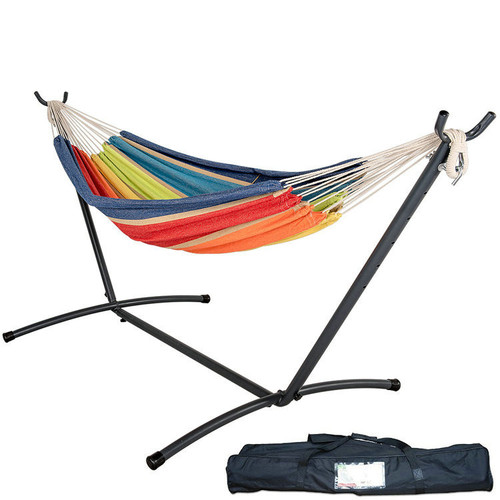 Lazy Daze Hammocks Double Hammock with Space Saving Steel Stand Includes Portable Carrying Case, 450 Pounds Capacity (Lime&Orange Stripe) �,P,COMBY05B,,Lazy daze Hammocks""