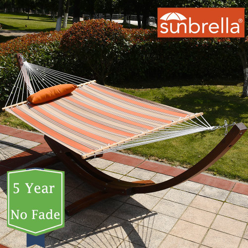 Sunbrella Fabric Hammock, pillow and 12 Feet Wood Arc Stand