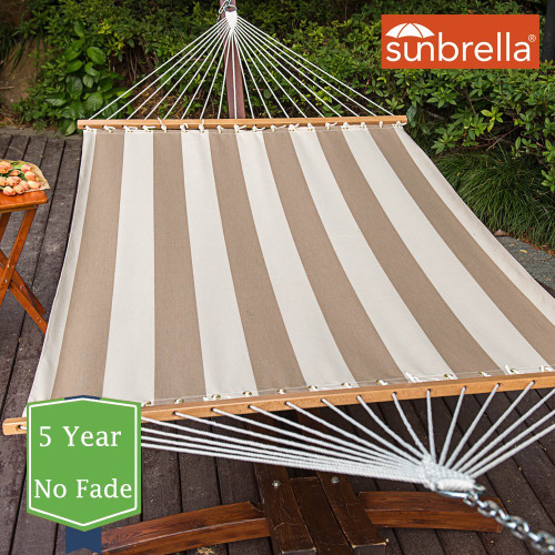 All Weather Sunbrella® Fabric Hammocks with Spread Bar and Handcrafted Polyester Rope for Two Person, Fade Resistant, 450 lbs Capacity, Regency Sand, by Lazy Daze Hammocks