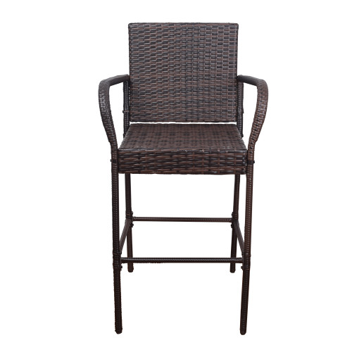 2 Pcs All Weather Patio Furniture Set Brown Wicker Barstool with Blue Cushions, Back Support and Armrest