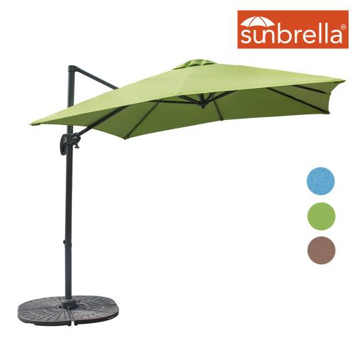 Sundale Outdoor 8.2ft Square Sunbrella® Fabric Offset Hanging Umbrella Market Patio Umbrella Aluminum Cantilever Pole with Crank Lift, Corss Frame, 360°Rotation, for Garden, Deck, Backyard (Macaw)