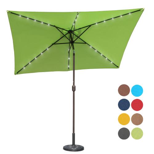 Sundale Outdoor Rectangular Solar Powered 26 LED Lighted Patio Umbrella Table Market Umbrella with Crank and Push Button Tilt for Garden, Deck, Backyard, Pool, 6 Alu. Ribs, 9 by 6.5-Feet (Apple Green)
