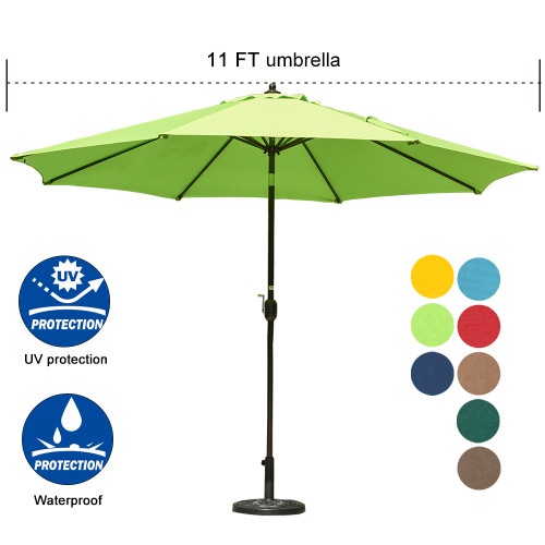 9 Feet Outdoor Aluminum Patio Umbrella With Auto Tilt And Crank Lime
