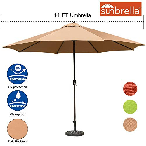 Sundale Outdoor 11 Ft Sunbrella Canopy Patio Market Umbrella Garden Outdoor Aluminum Umbrella with Crank, No Push Button Tilt, Camel