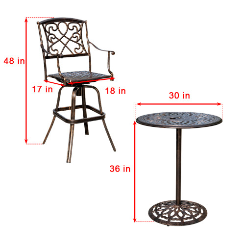 Sundale Outdoor 2 Pcs Counter Height Swivel Bar Stool and Bar Table Set All Weather Patio Furniture Bistro Set with Heavy Duty Aluminum Frame, Bronze