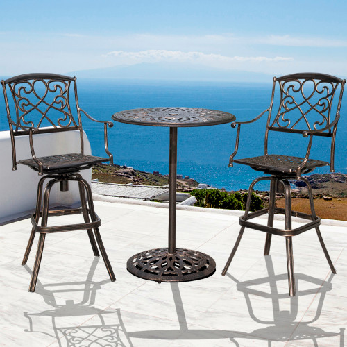 Super Sundale Outdoor 2 Pcs Counter Height Swivel Bar Stool And Bar Table Set All Weather Patio Furniture Bistro Set With Heavy Duty Aluminum Frame Bronze Machost Co Dining Chair Design Ideas Machostcouk
