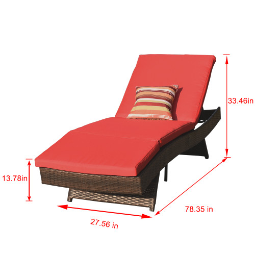 Sundale Outdoor 2PCS Deluxe Patio Adjustable Wicker Chaise Lounge Set with Cushions and 2 Throw Pillows (Red)