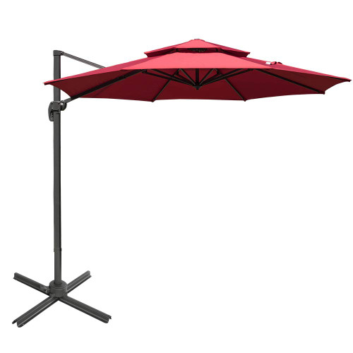 Sundale Outdoor 11 ft Offset Hanging Umbrella Market Patio Umbrella Aluminum Cantilever Pole w/Stylish Dual Wind Vent, Cover, Crank Lift and Cross Frame, 360°Rotation, for Garden, Deck, Backyard, Red