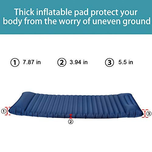 Sundale Outdoor Inflatable Airbed Portable Camping Air Mattress Single High Blow up Guest Bed Lightweight Tent Mattress with Built-in Pedal Inflation, Navy Blue