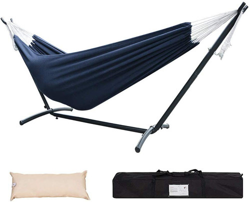 Lazy Daze Hammocks Double Hammock with 9FT Space Saving Steel Stand Includes Portable Carrying Case, 450 Pounds Capacity, Navy Blue
