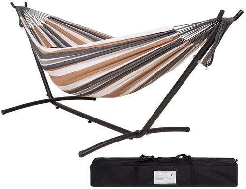 Lazy Daze Hammocks Double Hammock with 9FT Space Saving Steel Stand Includes Portable Carrying Case, 450 Pounds Capacity, White&Coffe