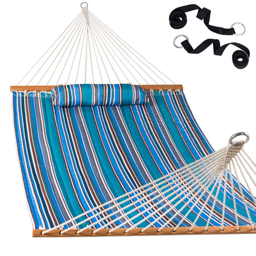 Lazy Daze Hammocks Quilted Fabric Double Hammock with Pillow and Straps, Spreader Bar Swing for Two Person, Peacock Green Stripe