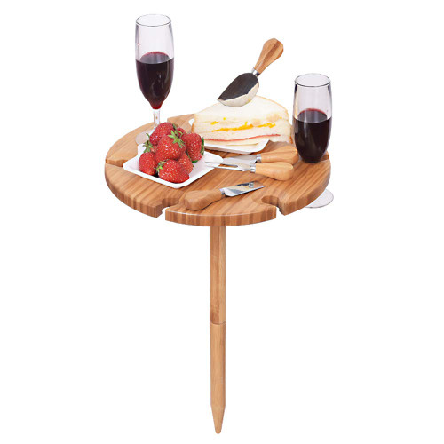 Sundale Outdoor Wine Picnic Table for Camping Beach Dining Use Low Portable Table, Bamboo with Cutlery Set
