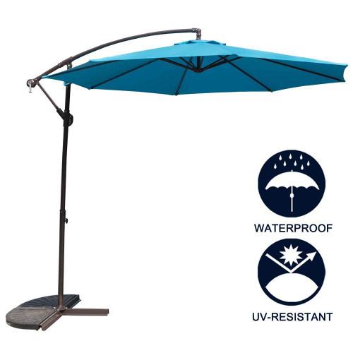 TOUCAN OUTDOOR 10 Feet Patio Umbrella Aluminum Table Market Hanging Umbrellas, 8 Steel Ribs, Cross Base Crank, Blue