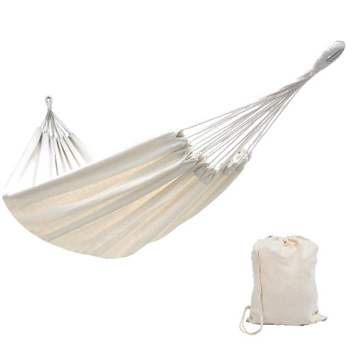 Lazy Daze Hammocks Brazilian Double Hammock Portable Canvas Hammock with Carry Bag, Two Person Bed for Backyard, Porch, Balcony, Outdoor and Indoor Use, 450 Pounds Capacity (Natural)