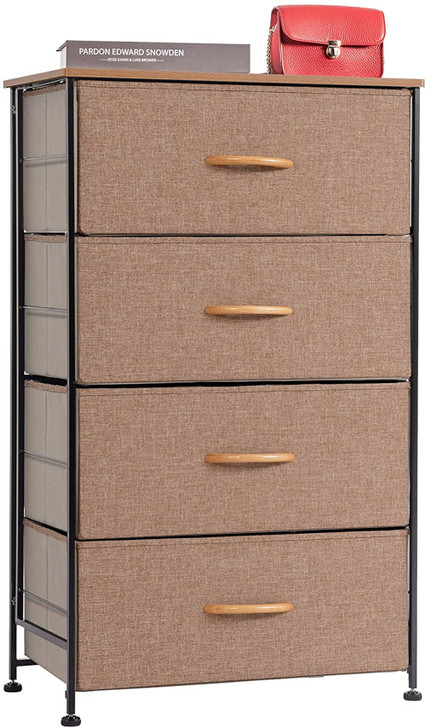 WAYTRIM Fabric 4 Drawers Storage Organizer Unit Easy Assembly, Vertical Dresser Storage Tower for Closet, Bedroom, Entryway, Camel