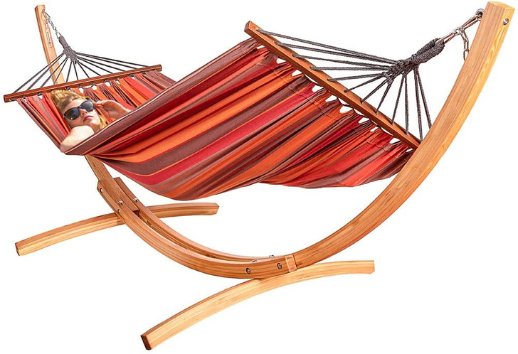 Lazy Daze Hammocks 10 Feet Russian Pine Hardwood Arc Frame Hammock Stand and Cotton Fabric Spreader Bar Hammock Combo, Includes Hooks and Chains, Brown and Red Stripes