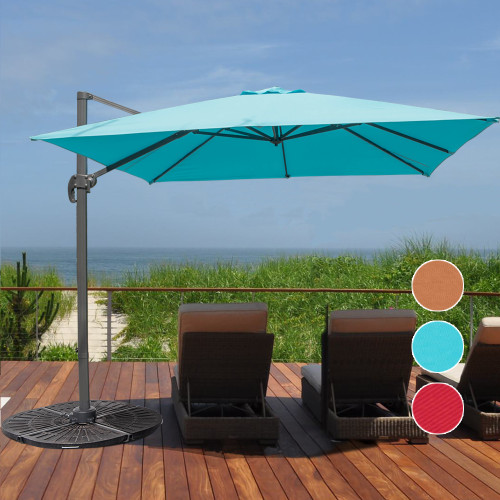 10 Feet Aluminum Offset Patio Umbrella With Crank Apple Green